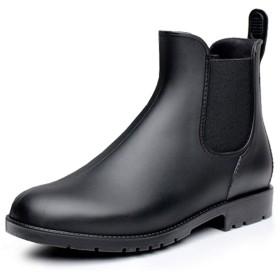 [fereshte] (フェレシテ) レインブーツ おしゃれ サイドゴア ショート レインブーツ レディース サイドゴア ノンスリップウォーターシューズ 長靴 雨靴 完全防水 black-42