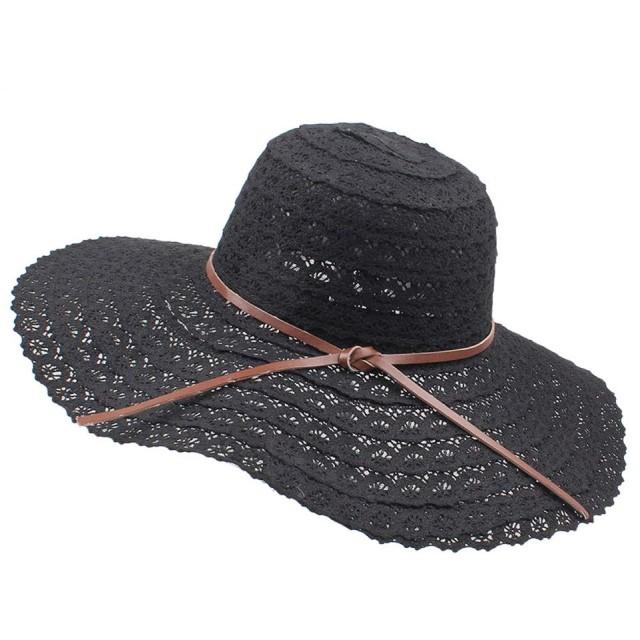 帽子 レディース 夏 uvカット帽子 大きいサイズ つばひろ 女優帽子 小顔効果 細編みハットリボン 日よけ帽子 UVハット 折りたたみ旅行 ビーチ帽子 夏 (ブラック)