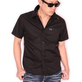 (バンソン) VANSON ワンポイント刺繍 ツイル 半袖シャツ NVSS-807 ブラック L