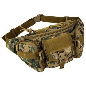 TACVASEN タクティカル ウエストパック メンズポーチ サバゲー 斜めがけ鞄 ミリタリー 男女兼用 小物の持ち運び 普段使い 丈夫 実用 ジャングル