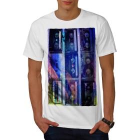 Wellcoda カセット プリント アート 音楽 男性用 白 XL Tシャツ