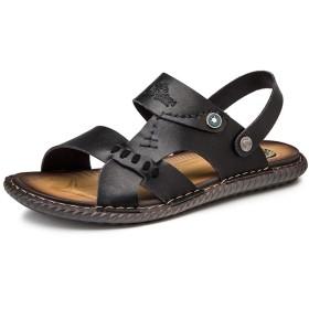 [麗人島株式會] 夏の靴男性サンダル本革ビジネスカジュアルシューズ男性品質デザイン屋外ビーチサンダルローマ水スニーカー 25.5cm 黒