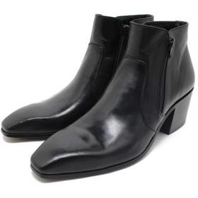 [フープディドゥ] 104142 ソフトレザーチゼルトゥブーツ 本革ブーツ ヒール付き/ハイヒール/紐靴/革靴/仕事用/メンズpm 40/25.0-25.5,BLACK