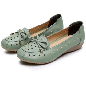 パンプス レディース  リボン付き カジュアル 穴付き 綺麗 歩きやすい  女性靴 柔らかい 通勤 ローヒール  ナース グリーン/ベージュ/グレー 22CM-26.5CM