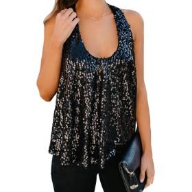 女性サマーSequnisタンクトップシャツカジュアルペイレットTシャツトップ Black S
