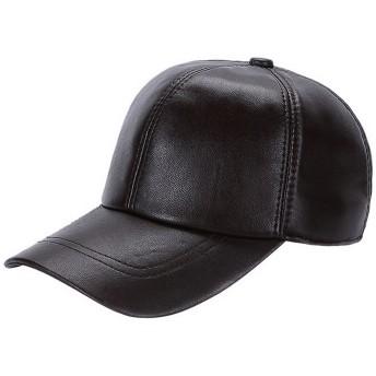 GEMVIE メンズ レディース キャップ 野球帽 男女兼用 帽子 ワークハット 無地 アウトドア シンプル 秋冬 本革 ブラウン