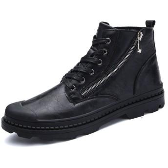[サニーサニー] カジュアルシューズ 防水 メンズ 革靴 ウォーキング 黒/ブラウン 男性靴 おしゃれ ファスナー オールシーズン 軽量 防滑 歩きやすく 雨雪 通勤 通学 26.0cm