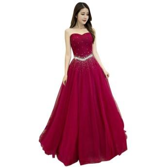 duolala レディース ベアトップ 袖なし パーティードレス イブニングドレス 結婚式 ワンピース 二次会 演奏会 ロングドレス レッド S
