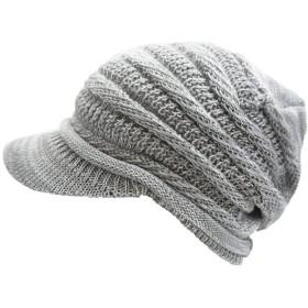 ドリームウォーク 帽子 ニット帽 コットンニットキャップ (Type3つばあり Lサイズ Gray×White)