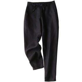 IXIMO レディース リネン ロングパンツ テーパードパンツ 無地 ウェストゴム ドロスト ゆったり カジュアル きれいめ パンツ ズボン 黒 S