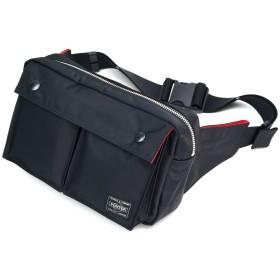 ポーター エルファイン 【PORTER L-fine】 PORTER×ILS共同企画 ウエストバッグ S(スモール) Waist Bag Small 【LYD383-06696】 ブラック 裏地=レッド Black Backing=Red