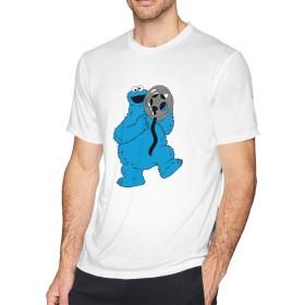セサミストリート クッキー モンスター Tシャツ メンズ 半袖 綿 Tシャツ クルーネック 吸汗速乾 カットソー シンプル ゆったり 無地 オシャレ