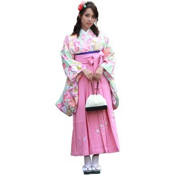 卒業式 はかま セット レディース 大学生 ジュニア 二尺袖 刺繍 袴 2点セット SSサイズ グリーン 花 七宝