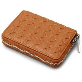 [トップイズム] 二つ折り財布 メンズ 財布 ラウンドファスナー サイフ 男性用 カード入れ 小銭入れ メッシュ 編み込み 3-キャメル F