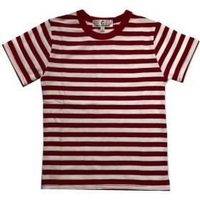 (コマンス)commencer子供服 ボーダー短袖067 Tシャツ 100-160cm 男の子 女の子 キッズ カットソートップス (130, 白x 赤)