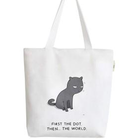 [スンル]トートバッグ レディース キャンバスバッグ エコバッグ ショッピングバッグ コットンバッグ ショルダー 大容量 多機能 多用途 可愛い 肩掛け おしゃれ 猫