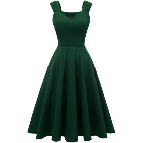 Dresstell(ドレステル) ワンピース 結婚式ドレス ロング ワンピース Vネック 大きいサイズ フレア レトロ Aライン 二次会 お呼ばれ パーティードレス 秋冬 ダークグリーン XLサイズ