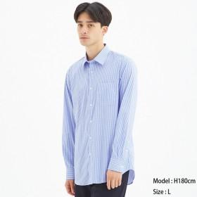 (GU)ストレッチブロードシャツ(長袖)(チェック)CL BLUE L