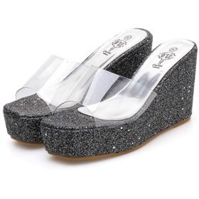 [SDS] レディース ビーチサンダル ウェッジソール ブラック ミュール オープントゥ 厚底靴 黒 歩きやすい 24.0cm ウェッジヒールサンダル 小さいサイズ 22.0cm 22.5cm 歩きやすい かわいい サンダル 美脚