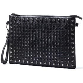 Marchs67 スタッズ メンズ 2WAY クラッチバッグ ショルダーバッグ かっこいい コンパクト セカンドバッグ 鞄 レザー 黒