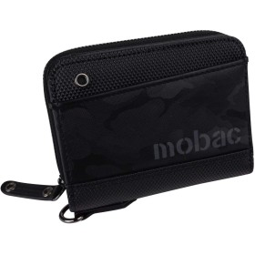 [モバック]財布 二つ折り財布 メンズ 小銭入れ ラウンドファスナー ツートンカラー バイカラー 4色展開 カジュアル mobac モバック ギフト 祝い プレゼント (ブラック)