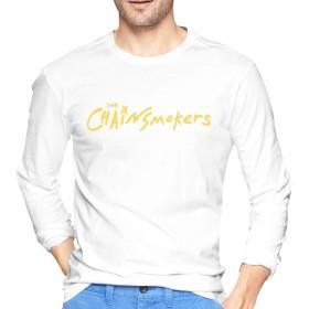ザ・チェインスモーカーズ THE Chainsmokers Tシャツ 長袖 メンズ ロングスリーブ 丸首 無地 綿 カジュアル ゆったり 薄手 4色 大きいサイズ