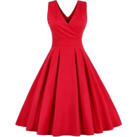 VogueBella 女性の1950年代深いvからカジュアルなビンテージレトロワンピース[输入并行品] (3XL, 赤い)