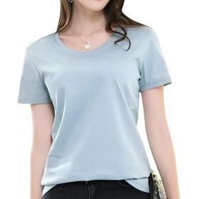 KUKAKI(クカキ) 無地 tシャツ レディース 半袖 vネック 丸首 カジュアル 綿 ティーシャツ インナーtシャツ カットソー 9色