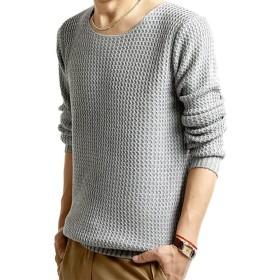 【ノーブランド】シンプル ニット メンズ セーター 長袖(グレー, L)