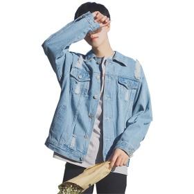 SHUNYI デニムジャケット メンズ オシャレ ヴィンテージ ジージャン ダメージ 加工 ブルゾン ストリート ストレッチ 大きサイズ カジュアル 春秋 ライトブルー2XL