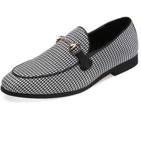 [ジョイジョイ] ビットローファー メンズ 革靴 大きいサイズ ビジネスシューズ 千鳥格子柄 ローカット 防水 カジュアル お兄系 モカシン ストリート系 歩きやすい 快適 防滑 ホワイト オシャレ 紳士靴