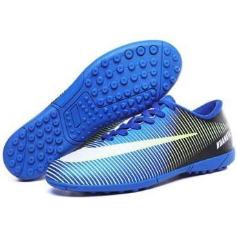 [フルタイムの靴と服] サッカーシューズサッカー子供用クリートブーツロングスパイクfgスパイクスニーカーソフトアウトドアフットサルサッカーシューズ 24.5cm 青