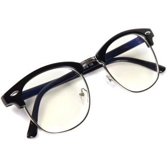 [FREESE] 伊達メガネ ブルーライトカット PCメガネ デザイナーズ クラシック ファッション伊達眼鏡 ウェリントン メンズ 【福岡発のアイウェアブランド FREESE】(ブラックシルバー)