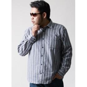 大きいサイズ カジュアルシャツ メンズ 長袖 ストライプ 暖かい 起毛 カジュアル シック 秋 冬 2L ブルー