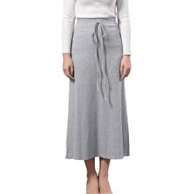 レディース 大きいサイズ ロング ニット スカート ストレッチ スリット スカート グレー 黒 4色 (S-6XL)