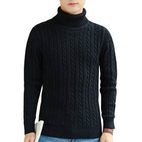[もうほうきょう] メンズ  無地のセーター プルオーバー ツイストセーター ハイネックセーター 修身セーター 厚ニット 秋春の新番 (L, ブラック)