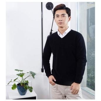 メンズ カシミヤ100% セーター Vネック 高品質 高級 (ブラック, M)