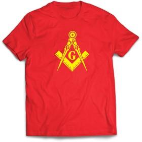 lepni.me 男性用Tシャツ 兄とフリーメーソンのロゴ、フリーメーソンの広場とコンパス (XL 赤 黄)