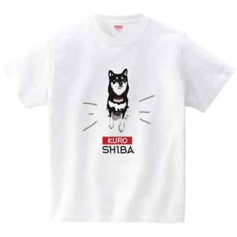[itaxes] ご満悦黒柴犬(Tシャツ・ホワイト)(Lサイズ) (funny cafe)