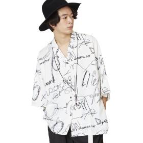 (アンリラクシング) Unrelaxing ドーローイングプリントアロハシャツ 総柄開襟シャツ UR-516 FREE ホワイト UR-516_WH01F001