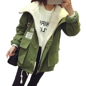 バイシン(BAISHUN)レディース 裏ボアワッペン装飾 ジップアップ ジャケット オシャレ ミリタリー コート(モスグリーン1-04)