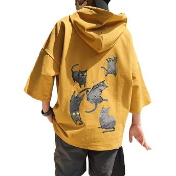 [Bestmood]メンズ パーカー 半袖 ゆったり プルオーバー フード付き 猫柄 ファッション Tシャツ カジュアル おしゃれ トップス ストリート系 大きいサイズ 黄色 夏(Yイエロー)