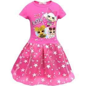 LATLONG サプライズ ドールLOL ドレス 子ども ガールズ 半袖 チュールスカート Lol Surprise Doll キッズ ワンピース 可愛い 女の子ドレス(140cm,719-ローズレッド)