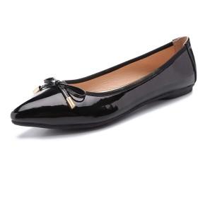 [ZUYEE] (ズイェ) レディース パンプス ぺたんこ ポインテッドトゥ リボン エナメル ローヒール フラットシューズ バレエシューズ 歩きやすい かわいい ブラック 24.0cm