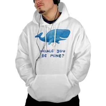 ポケット パーカー スウェットパーカー クジラ スウェット プルオーバー カジュアル ゆるシルエット ホワイト L