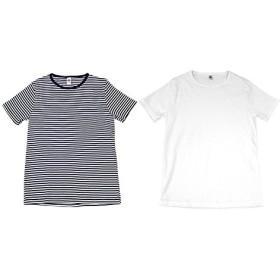 MOULIN NEUF ムーランヌフ 2枚パック 無地 ボーダー 丸首 Tシャツ MADE IN FRANCE M ネイビー/ホワイト・無地ホワイト