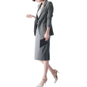 フォーマル スカートスーツ レディース 春 夏 通勤2点セット 膝丈スーツ+ジャケット 事務服 全3色 (グレー, XL)