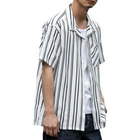 (エーエスエム) A.S.M メンズ シャツ 半袖 ポリエステル ストレッチ マルチストライプ オープンカラー シャツ 02-04-8720 52(LL) オフホワイト