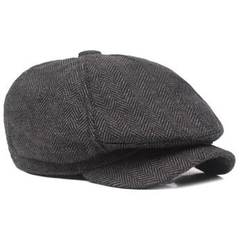 Echana キャスケット つば付き ハンチング ベレー帽 サイズ調整 おしゃれ カジュアル 帽子 野球 アウトドア ニュースボーイキャップ 秋冬 男女兼用 (ブラック)