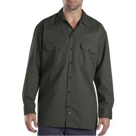 (ディッキーズ) Dickies LONG SLEEVE TWILL WORK SHIRT ワークシャツ シャツ 作業服 US規格 574 長袖 全5color ブラック カーキ ネイビー メンズ ポケット付 [並行輸入品] (S, OLIVE GREEN(OG))